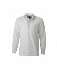 James & Nicholson Férfi fehér galléros hosszú ujjú póló